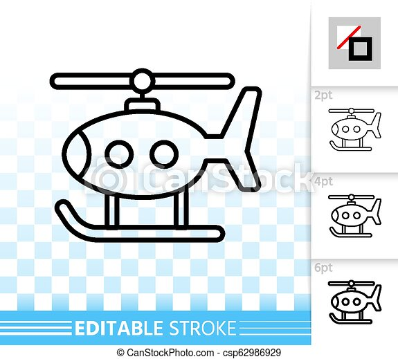 Helicopter Toy kids simple black line vector icon