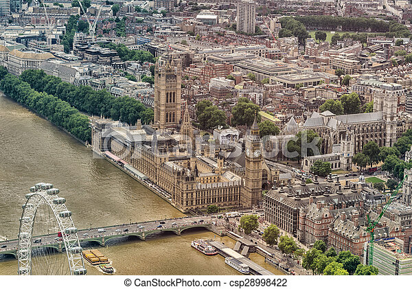 Helicopter view of Houses of Parliament and Westminster area, London - UK - csp28998422