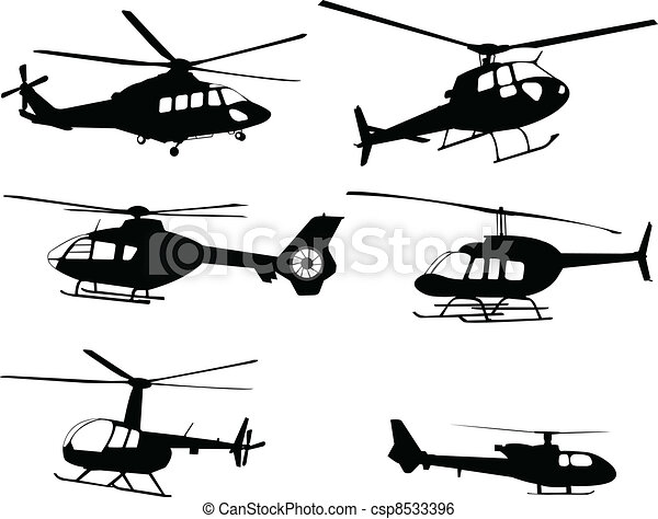 helicopters silhouettes - csp8533396