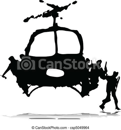 helikopter, katona, illustratio - csp5049964