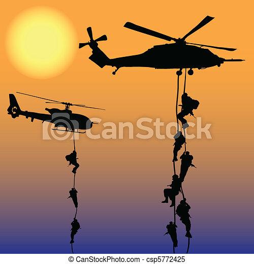 helikopter, leszállás - csp5772425