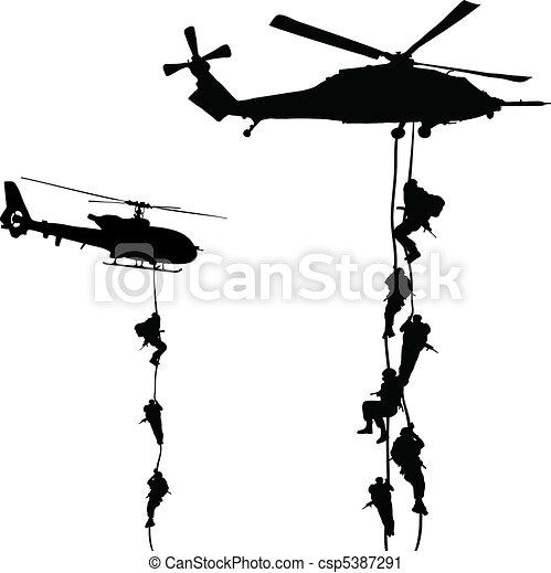 helikopter, leszállás - csp5387291