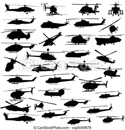 helikopter, minden, vektor, körvonal - csp5049978