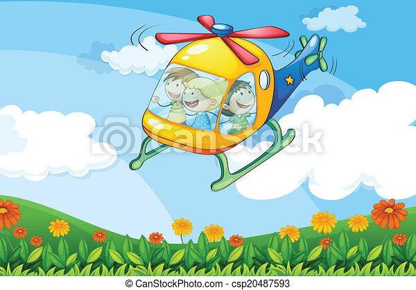 helikopter, vliegen, geitjes - csp20487593