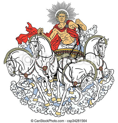 Helios Helios Personification Of The Sun Driving A Chariot Drawn By