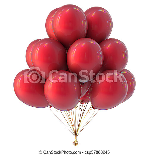 Helium balloons bunch red colorful - csp57888245