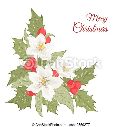 hellebore flowers mistletoe holly berries isolated isolated bouquet