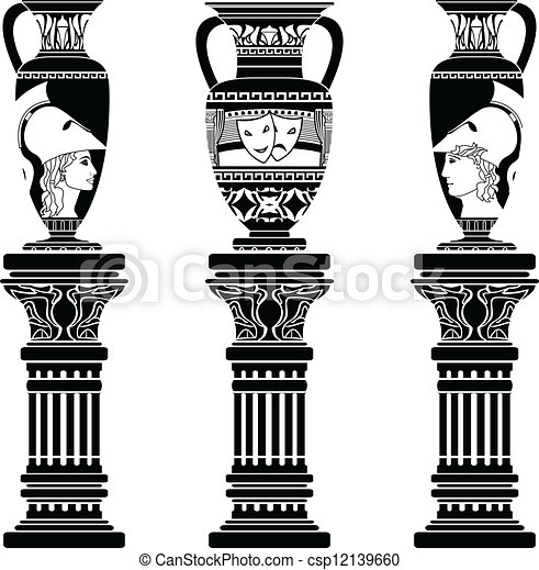 hellenic jugs with columns - csp12139660