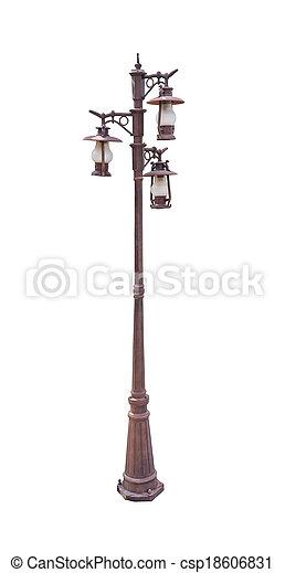 heller pole, lampe, straße, pfahl, straße - csp18606831