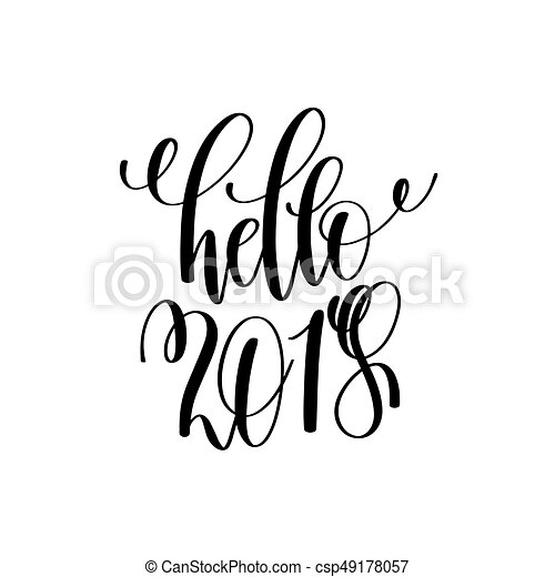 hello 2018 hand lettering inscription to winter holiday clipart rh canstockphoto com