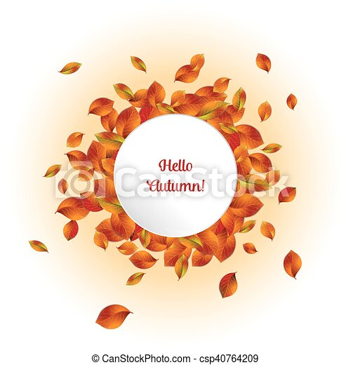 hello autumn banner a frame of realistic autumn leaves surrounding
