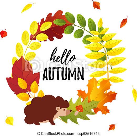 Hello Autumn Greeting Card With Autumn Leaves Wreath And Cartoon Hedgehog Flat Style Seasonal Decorative Design Element
