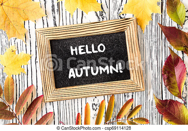 Hello autumn greeting text on chalkboard. Top view - csp69114128