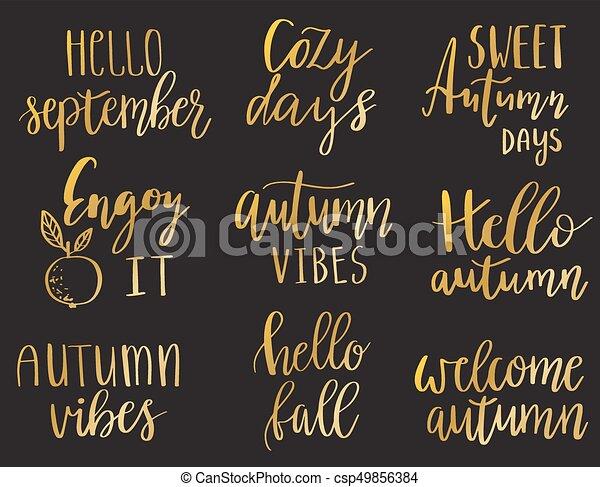 Hello Autumn Set Vector Hand Lettering Autumn Phrases Set