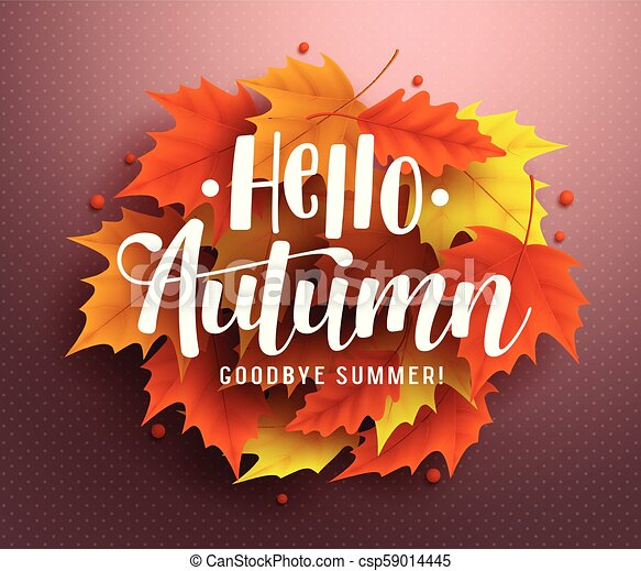Hello autumn vector background design with autumn typography and hello autumn vector background design with autumn typography and maple leaves in textured background for fall season greetings design vector illustration m4hsunfo