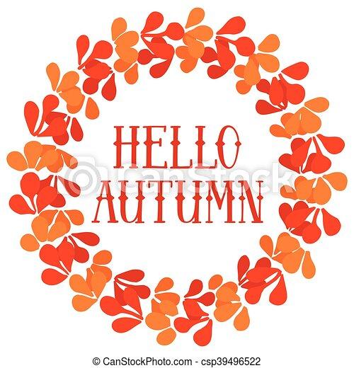 Hello autumn wreath vector card - csp39496522