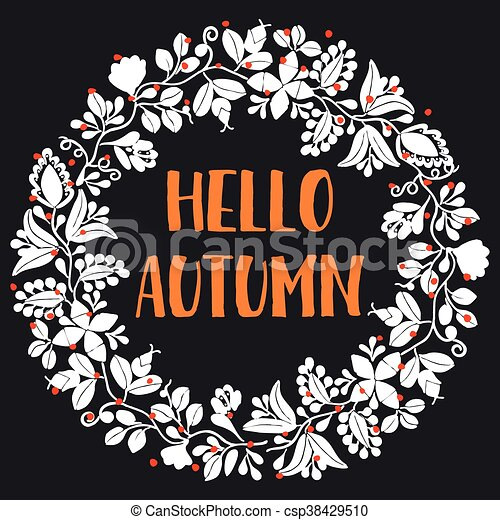 Hello autumn wreath vector card - csp38429510