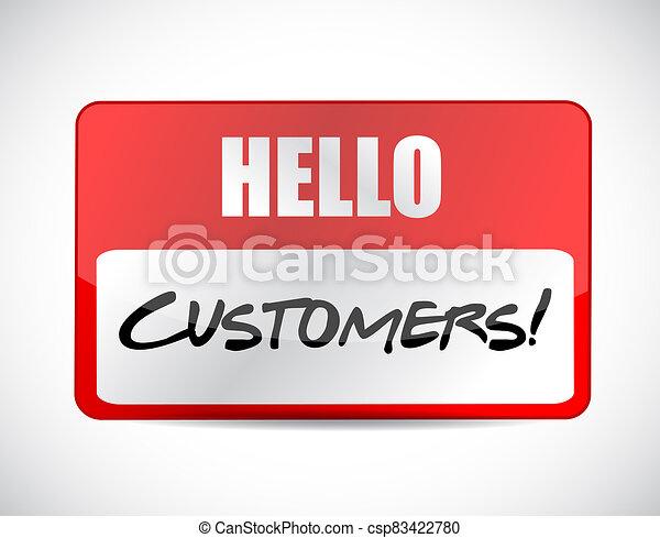 Hello customers tag illustration design - csp83422780