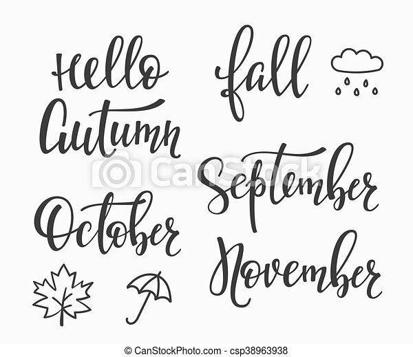 Hello Fall Autumn September October November Set   Csp38963938