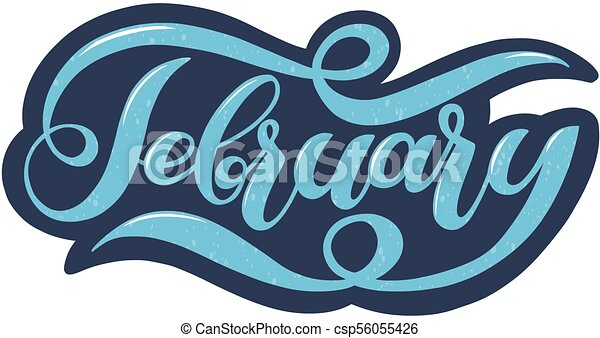 Hello february blue winter handwritten lettering