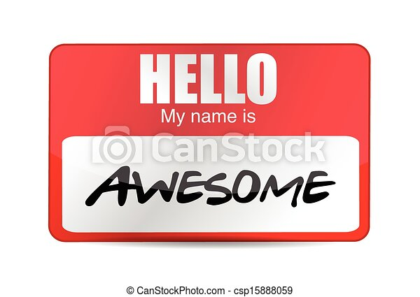 Hello I am awesome tag. Illustration - csp15888059