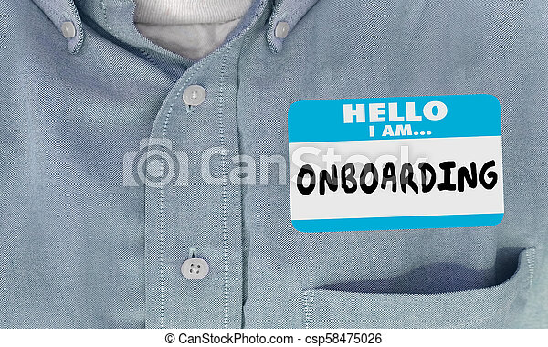 Hello I Am Onboarding New Employee Nametag 3d Render Illustration - csp58475026
