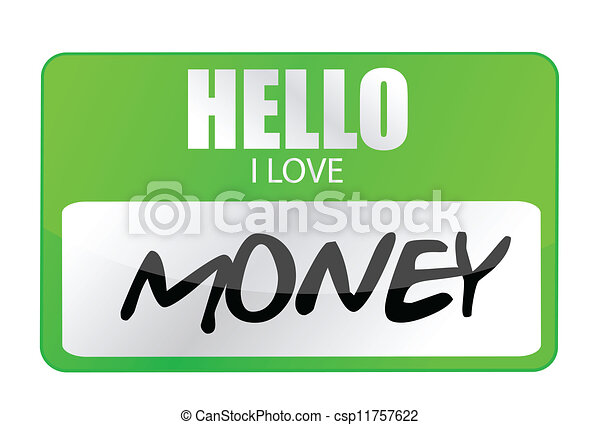 hello i love money tag - csp11757622