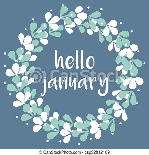 Hello january winter vector card. Hello january winter ...
