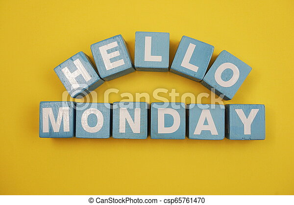 Hello Monday alphabet letters on yellow background - csp65761470