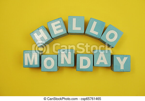 Hello Monday alphabet letters on yellow background - csp65761465