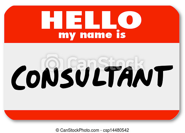 Hello My Name is Consultant Nametag Sticker Badge - csp14480542