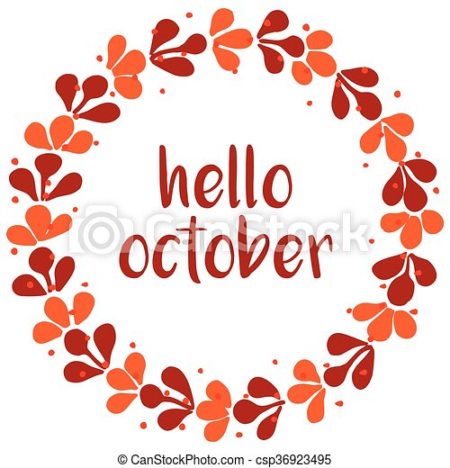 Hello october wreath orange card - csp36923495