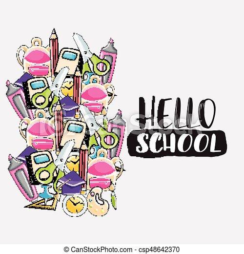 hello school doodle clip art greeting card cartoon vector rh canstockphoto com