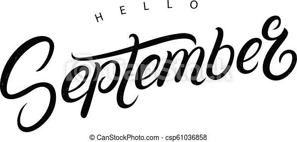 hello september hand written lettering quote