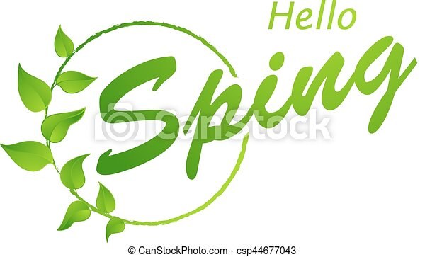 Hello Spring Abstract Background Design Element With Green Leaves
