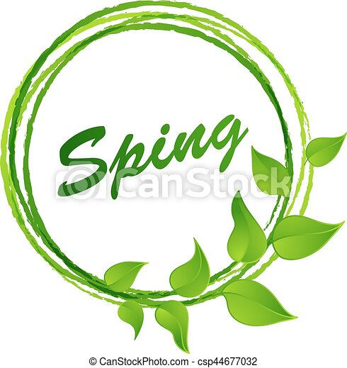 Hello spring abstract background. design element with green leaves ...