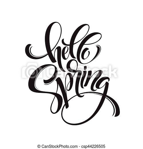 hello spring phrase lettering hand drawn calligraphy vector rh canstockphoto com vector line art in photoshop cs5 vector line artwork