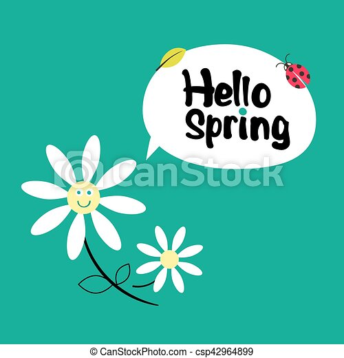 Hello Spring. Retro Funky Cartoon with Daisy Flowers, Leaf and Ladybug on Green Background. - csp42964899