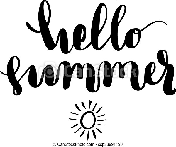 Delicieux Hello Summer Brush Lettering. Vector