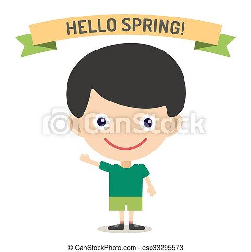 Hello Summer cartoon boy with hands up vector illustration - csp33295573