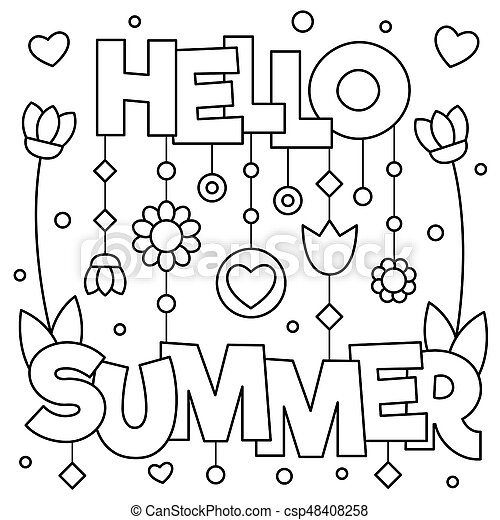 Hello Summer Coloring Page Vector Illustration Canstock