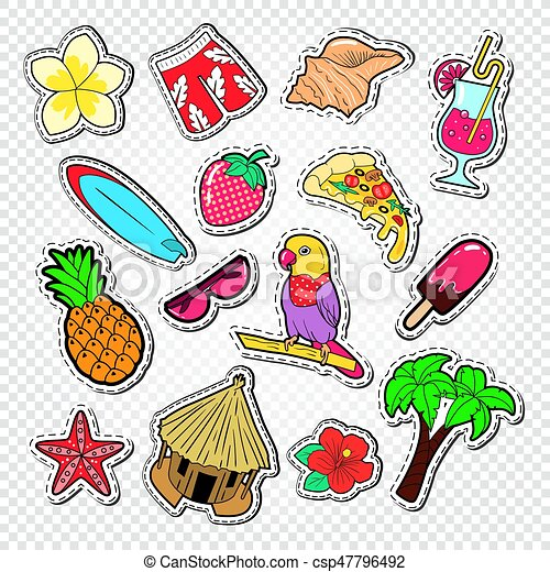 Beach Vacation Stickers Badges And Patches With Palm Tree Parrot Surf