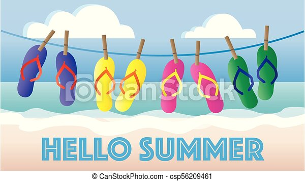 hello summer header banner picture - csp56209461