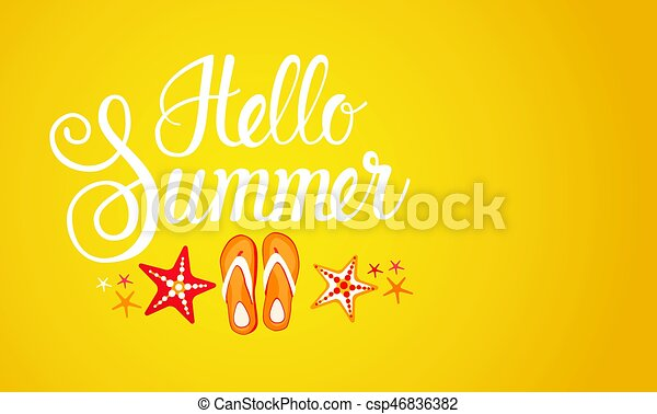 Hello Summer Season Text Banner Abstract Yellow Background - csp46836382