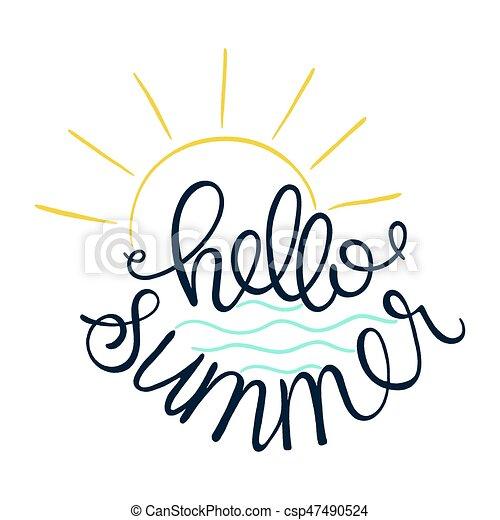 hello summer vector illustration of sun icon and sea logo design rh canstockphoto com summer vector art summer vector ii-z vr review