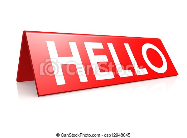 Hello tag in red - csp12948045