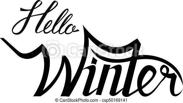 hello winter brush lettering calligraphy csp50169141