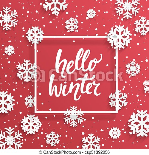 hello winter card with snowflakes hello winter card with snowflakes