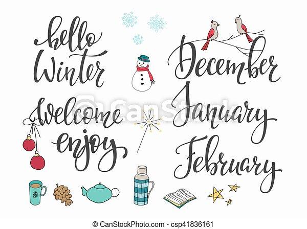 Hello Winter December January February set