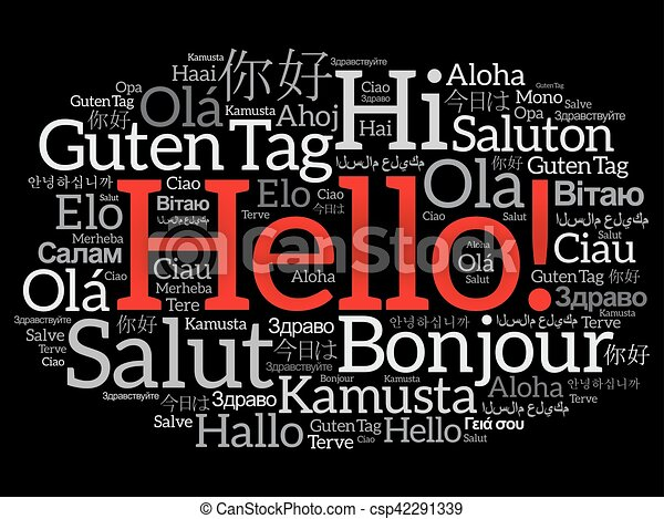 hello word cloud collage in different languages of the world